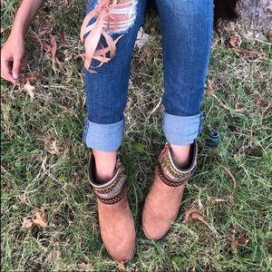 Shoes - CAMEL FAUX SUEDE BOOTS
